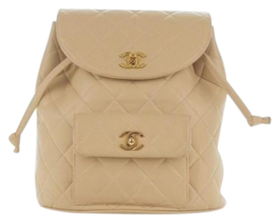 3f0c696bb515 Chanel Backpack Vintage Quilted Lambskin Cc Logo Beige Leather ...