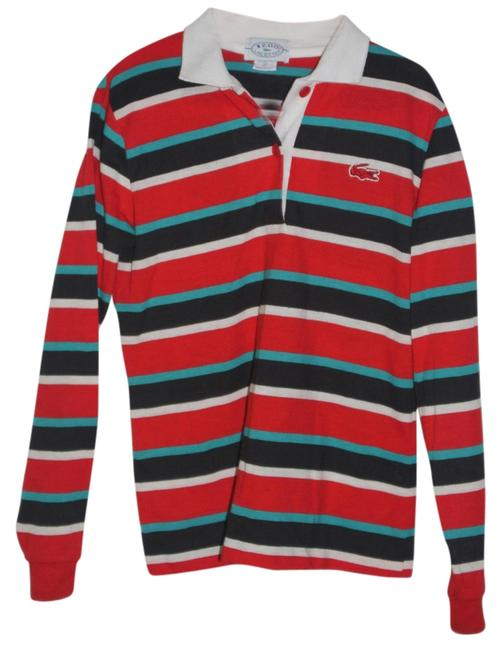 Lacoste T Shirt Red/Teal/Navy/White