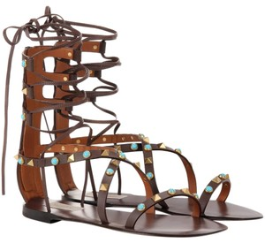 Valentino Rockstud Gladiator Flats BROWN CACAO Sandals