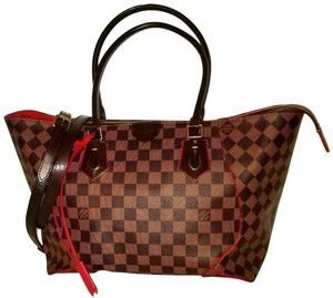 Louis Vuitton Caissa Mm Neverfull Cabas Damier Ebene Tote in Brown, red