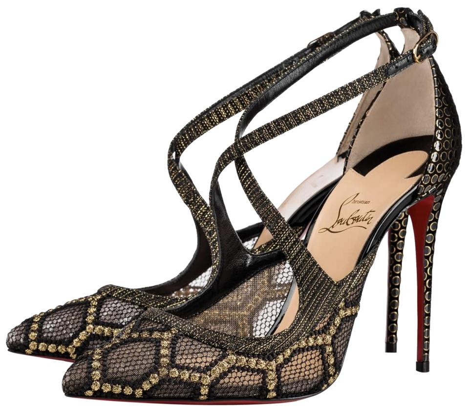 buy popular cbecc b7e6f Christian Louboutin Black Twistissima 100mm Gold Bee Lace Cross Strap Heels  #a718 Pumps Size EU 40.5 (Approx. US 10.5) Regular (M, B) 38% off retail