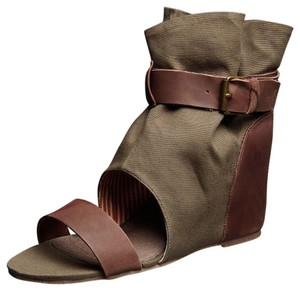 80%20 Linen Buckle Safari Military Army Green Olive/Brown Sandals