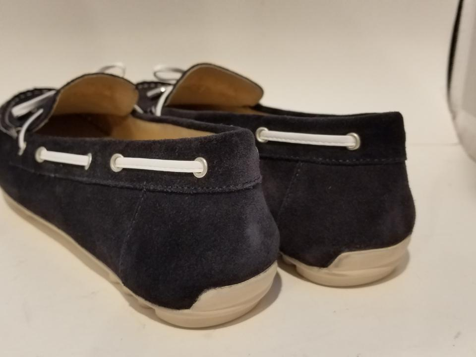 Geox Navy Loafers Leelyan Leather Suede Bow Flats Size EU 38