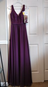 Mori Lee Eggplant Chiffon Lace 714 By Madeline Gardner and Matching Formal Bridesmaid/Mob Dress Size 6 (S)