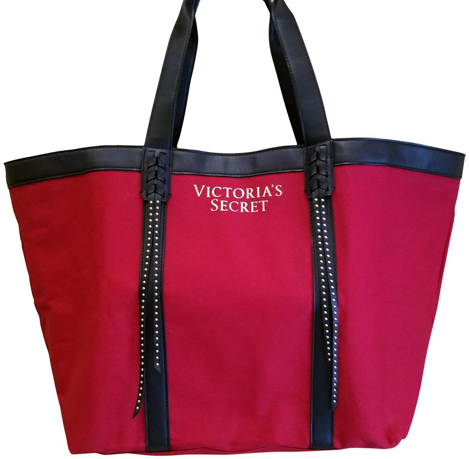 c5f19b5adee990 Victoria's Secret Red/Black Canvas Tote - Tradesy