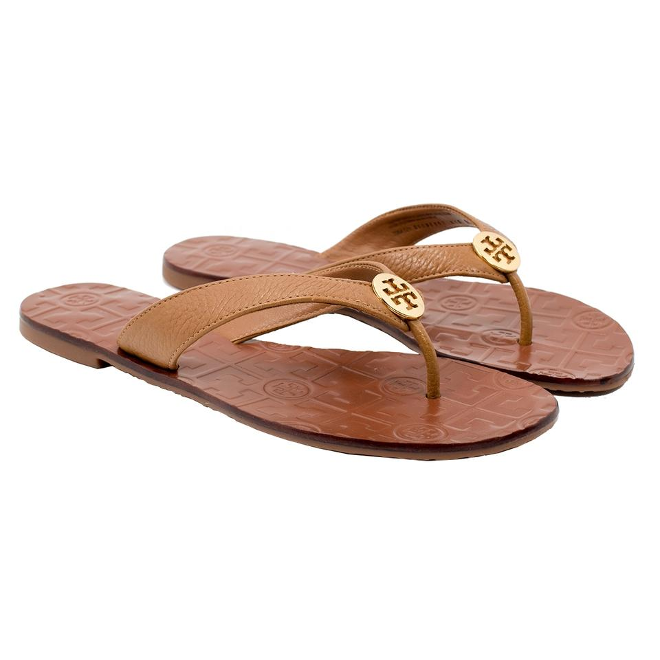 a041ab2be7f87 Tory Burch Royal Tan Gold Thora - Tumbled Leather Tan Gold Sandals ...