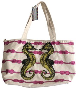 Thursday Friday Seahorses Cotton Tote in Cream