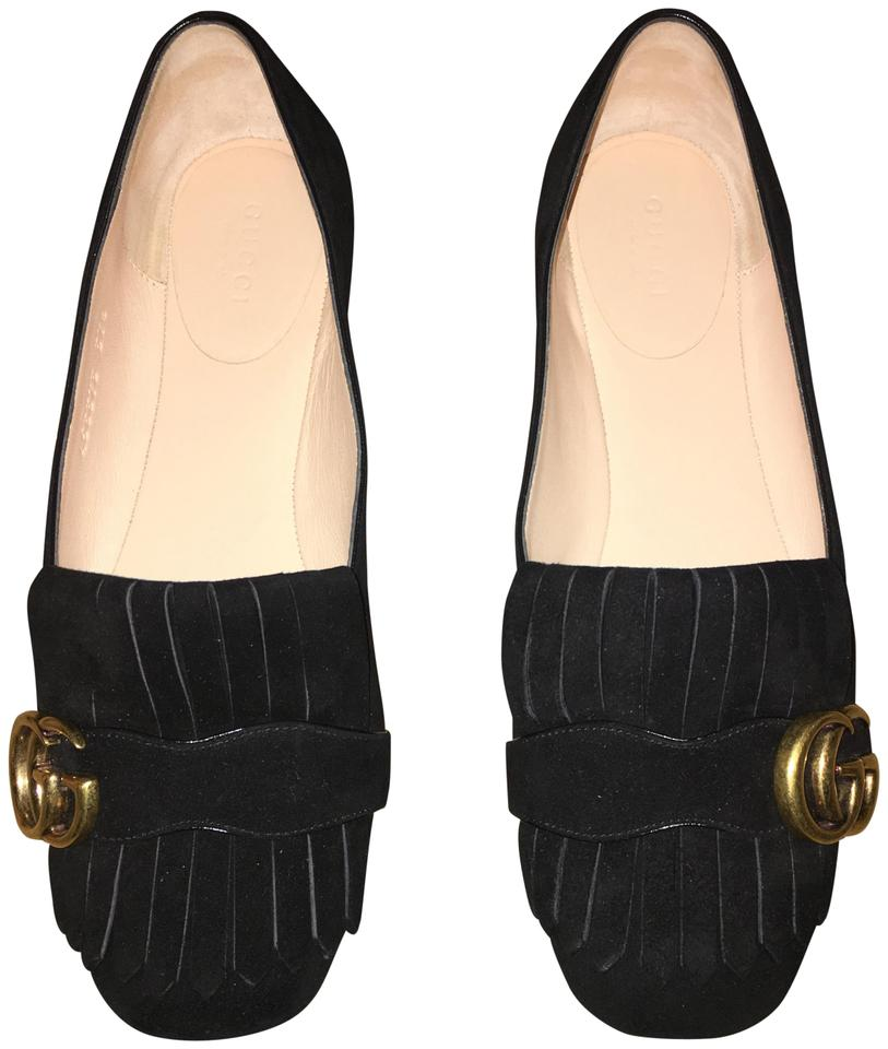 a0665f47aa5 Gucci Black Marmont Fringe Loafer Flats Size EU 37.5 (Approx. US 7.5 ...