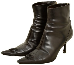 Chanel Leather Pointed Toe Black Boots