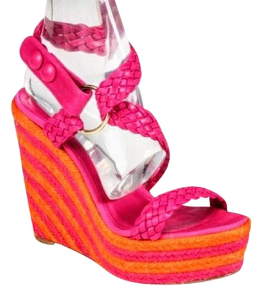 882b1a471d68 Brian Atwood Pink Orange Nwob Woven Heels Wedges Size EU 36 (Approx ...