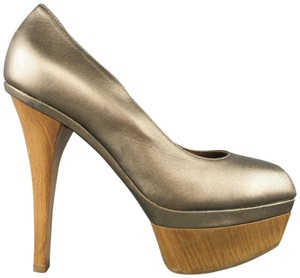 Marni Metallic Leather Peep Toe Wood Platform Taupe Pumps