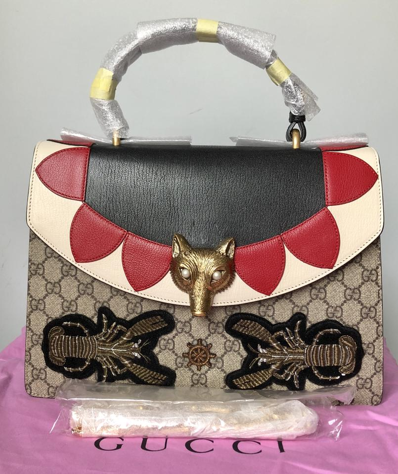 077471c9409c0c Gucci Broche Medium G G Supreme with Fox Head Multi Color Red Beige Top  Handle Convertible Leather Shoulder Bag - Tradesy