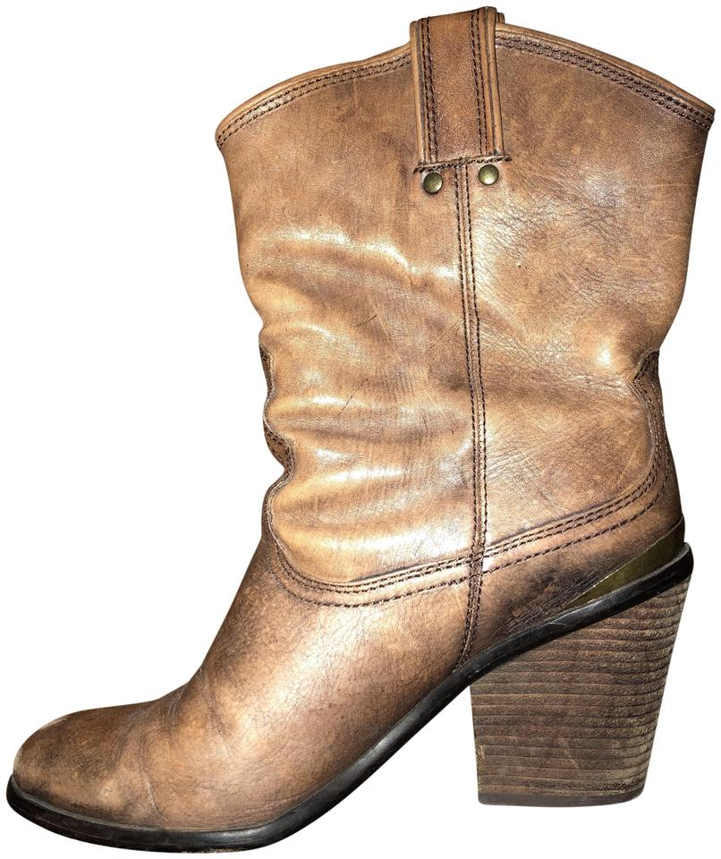 Lucky Brand Brown Distressed Leather Boots/Booties Elle Cowboy Boots/Booties Leather 04f6a1