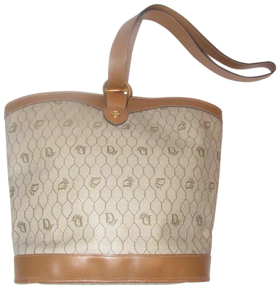 Dior Mint Vintage Rare Print Style Xl Bucket Satchel Early Satchel in brown    ... ad464964ff
