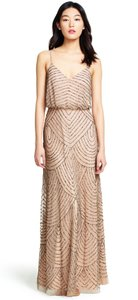 Adrianna Papell Taupe/Pink Beaded Art Deco Blouson Gown Formal Bridesmaid/Mob Dress Size 0 (XS)