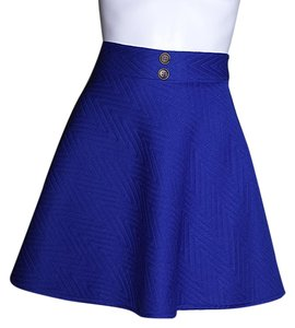 Lisa Nieves Mini Short Summer Quilted Chic Mini Skirt royal blue