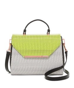 Ted Baker Harmony Magnetic Snap Neon Lime Woven Flap Cross Body Bag