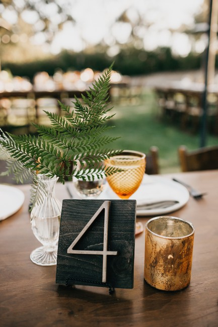 Item - Dark Wood and Brass Table Numbers 1-12 Mid Century Modern Centerpiece