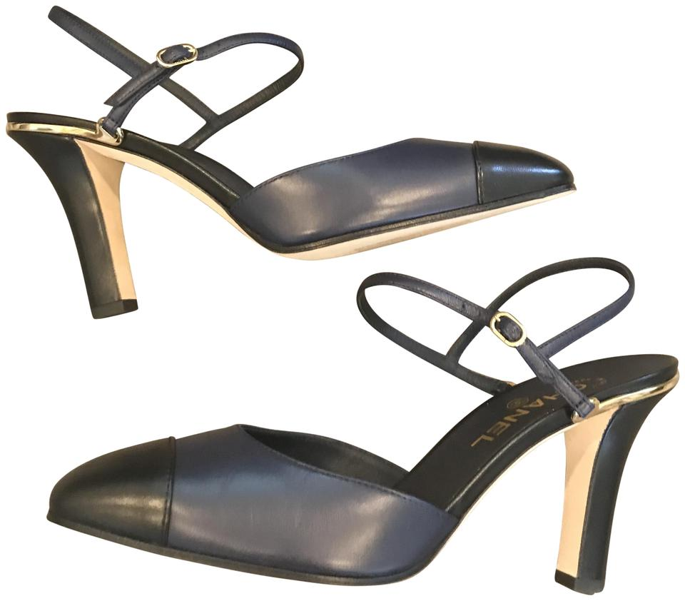 366ce57eac2 Chanel Navy Black 17c Coco Leather Slingback Sling Sandals Heels Pumps