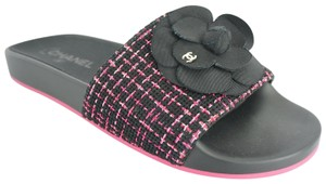 Chanel Cc Logo Party Plaid Fabric Black Pink Mules