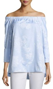 Lafayette 148 New York Top Light Blue and White