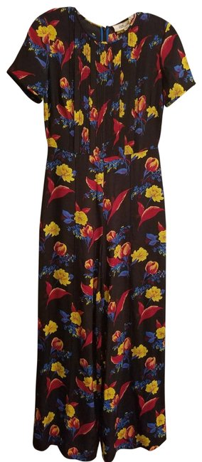 Item - Black Blue Yellow Dvf Flower Romper/Jumpsuit