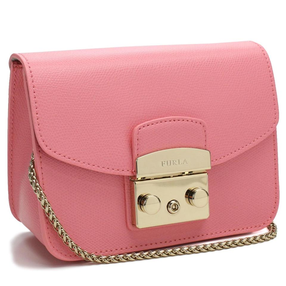 Furla Metropolis Mini Rosa Quarzo Pink/Gold Leather Cross Body Bag