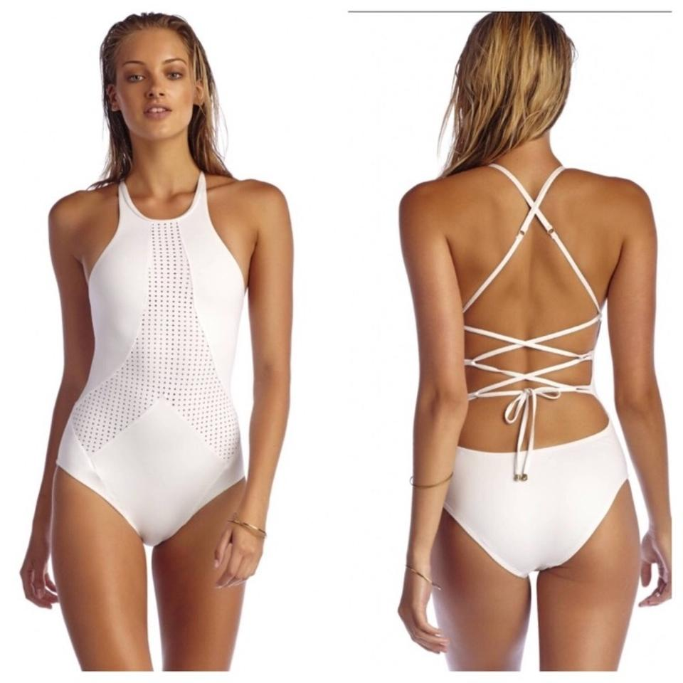 d56c90de1dd Vitamin A White Rayna Perforated High Neck One-piece Bathing Suit ...