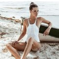 Vitamin A white Rayna perforated high neck one piece Image 1
