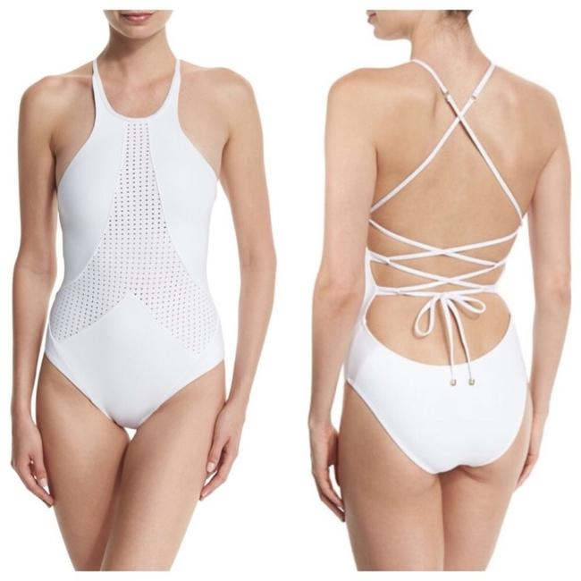 Vitamin A white Rayna perforated high neck one piece Image 2