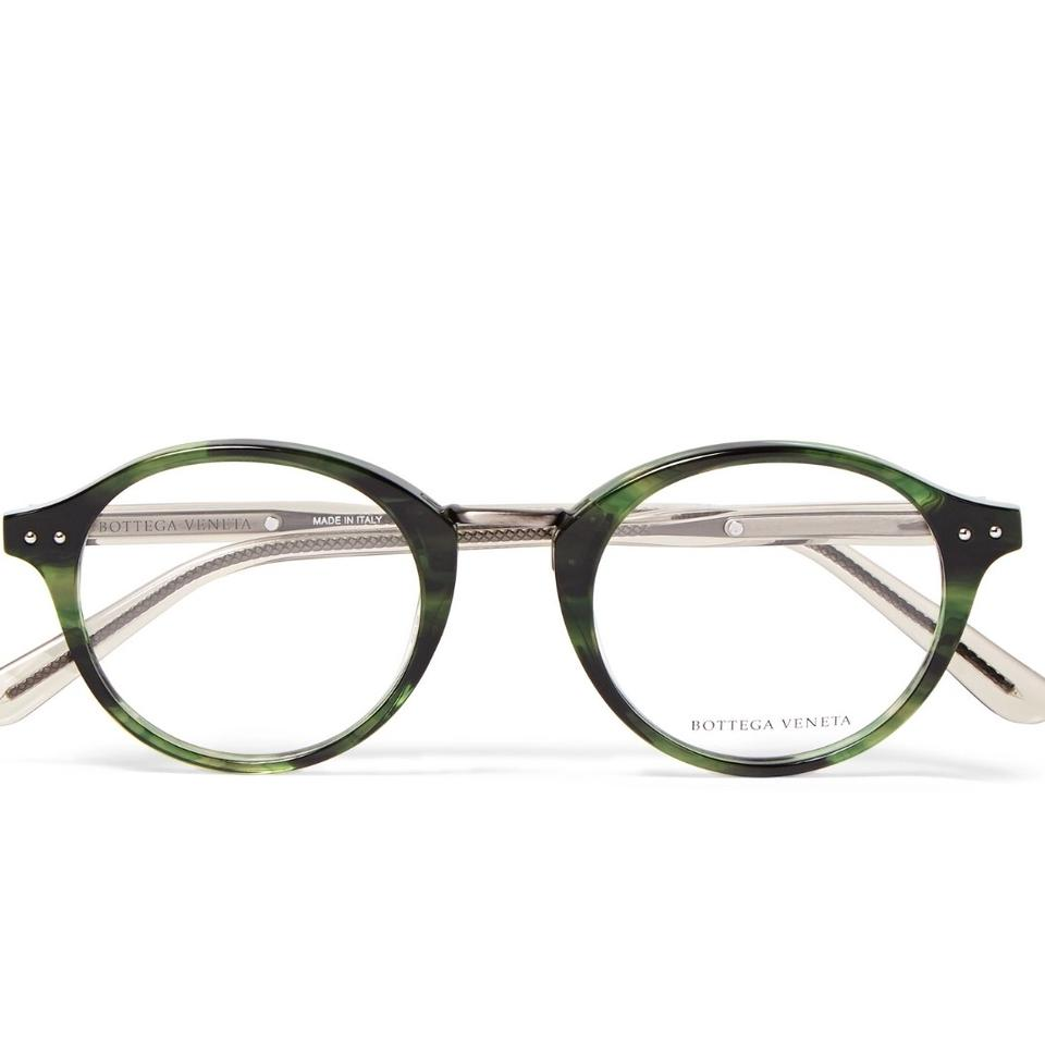 bcdced825d Bottega Veneta Green Gunmetal Round Frame Optical Acetate Glasses ...