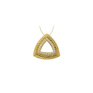 Marco B Cubic Zirconia Triangle Shaped Fashion Pendant in 14K Yellow Gold
