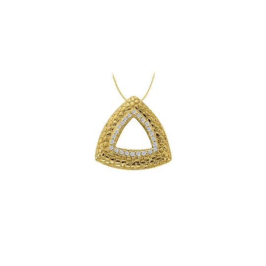 Preload https://img-static.tradesy.com/item/23516025/white-yellow-gold-cubic-zirconia-triangle-shaped-fashion-pendant-in-14k-necklace-0-0-540-540.jpg
