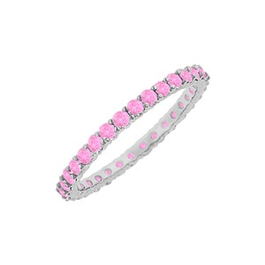 DesignerByVeronica Designer 10 CT Pink Sapphire Eternity Bangle in Sterling Silver