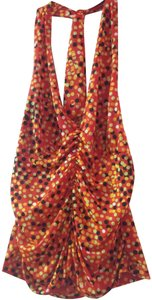 Private Label by G red, solid orange,lime green,gold ,black polka dot Halter Top