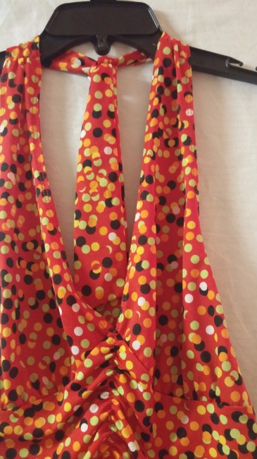 Private Label by G red, solid orange,lime green,gold ,black polka dot Halter Top Image 1