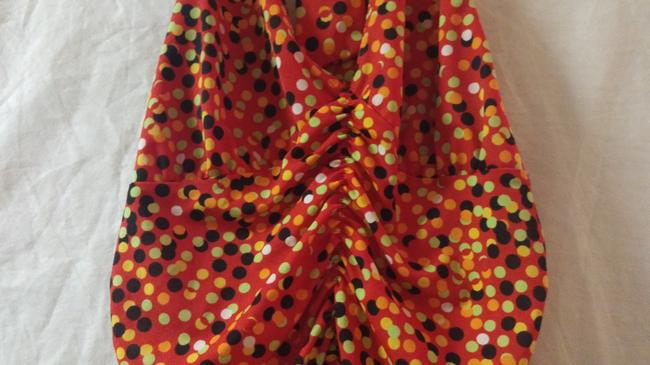 Private Label by G red, solid orange,lime green,gold ,black polka dot Halter Top Image 3