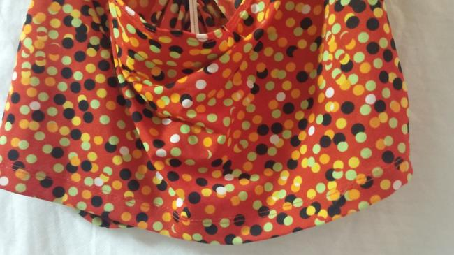 Private Label by G red, solid orange,lime green,gold ,black polka dot Halter Top Image 5