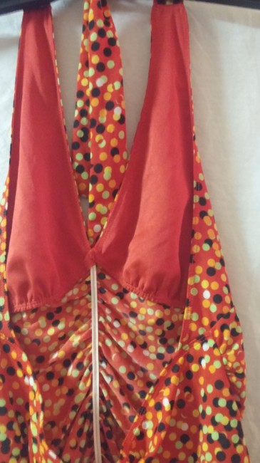 Private Label by G red, solid orange,lime green,gold ,black polka dot Halter Top Image 6
