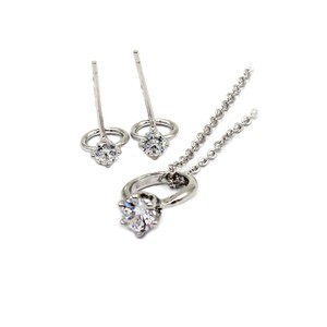 Ocean Fashion Simple style mini ring Crystal Necklace earring silver Set
