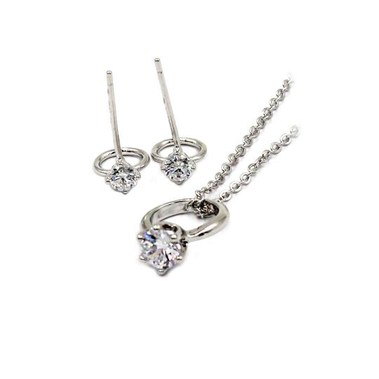 Preload https://img-static.tradesy.com/item/23516084/silver-simple-style-mini-ring-crystal-earring-set-necklace-0-0-540-540.jpg