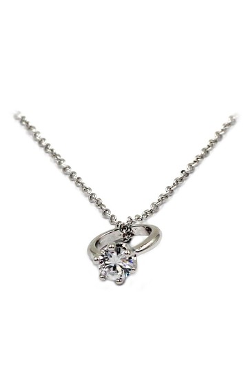 Ocean Fashion Simple style mini ring Crystal Necklace earring silver Set Image 3
