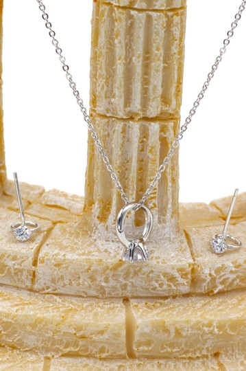Ocean Fashion Simple style mini ring Crystal Necklace earring silver Set Image 4