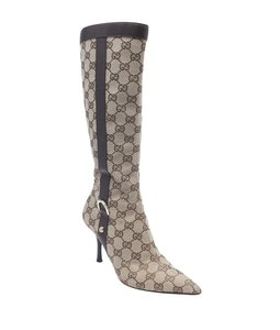 Gucci Knee - High Canvas Brown Boots