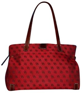Dooney & Bourke Satchel/Tote Style Mint Condition Rare D B Style Perfect Pop Of Color Lots Of Pockets/Room Satchel in dark red and brown DB logo print heavy canvas and brown leather