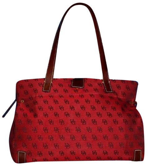 Preload https://img-static.tradesy.com/item/23516237/dooney-and-bourke-pursesdesigner-purses-dark-red-and-brown-db-logo-print-heavy-canvas-and-brown-leat-0-1-540-540.jpg