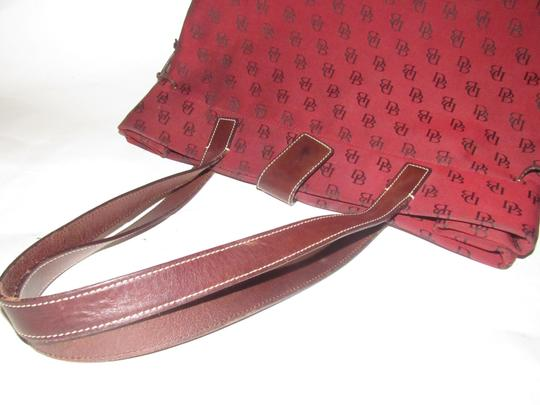 Dooney & Bourke Satchel/Tote Style Mint Condition Rare D B Style Perfect Pop Of Color Lots Of Pockets/Room Satchel in dark red and brown DB logo print heavy canvas and brown leather Image 11