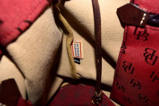 Dooney & Bourke Satchel/Tote Style Mint Condition Rare D B Style Perfect Pop Of Color Lots Of Pockets/Room Satchel in dark red and brown DB logo print heavy canvas and brown leather Image 2
