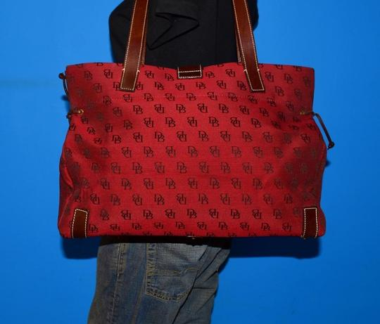 Dooney & Bourke Satchel/Tote Style Mint Condition Rare D B Style Perfect Pop Of Color Lots Of Pockets/Room Satchel in dark red and brown DB logo print heavy canvas and brown leather Image 5