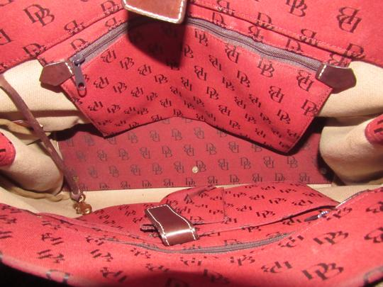 Dooney & Bourke Satchel/Tote Style Mint Condition Rare D B Style Perfect Pop Of Color Lots Of Pockets/Room Satchel in dark red and brown DB logo print heavy canvas and brown leather Image 6